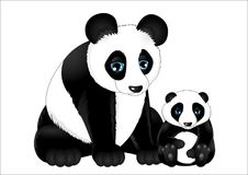 Mother and baby panda Royalty Free Stock Photo