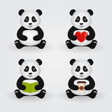 Cute cartoon pandas. Vector set. Royalty Free Stock Photo