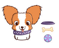 Cute cartoon papillon puppy. Vector illustration  on white Royalty Free Stock Images