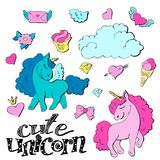 Cute cartoon patch princess with unicorns, hearts, cats and other elements for girls. Vector illustration isolated on white background Royalty Free Stock Image