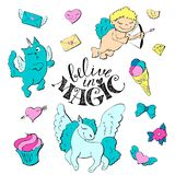 Cute cartoon patch princess with unicorns, hearts, cats and other elements for girls. Vector illustration  on white background Royalty Free Stock Photos