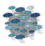 Cute cartoon pattern with clouds and rain. Print for fabric Stock Photos