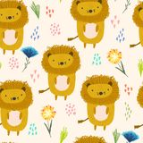 Cute cartoon pattern with lions, dots and flowers vector illustration