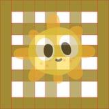 The cute cartoon pattern of the sun cartoon. vector illustration
