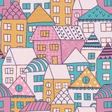 Cute cartoon pattern with tiny houses and trees. Hand drawn seamless ornament with hand drawn town.  Royalty Free Stock Photos
