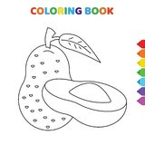 Cute cartoon pear slice fruit coloring book for kids. black and white vector illustration for coloring book. pear slice fruit