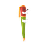 Cute cartoon pen comic character, humanized colorful pen with funny face vector Illustration Stock Photo