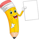 Cute cartoon pencil with sign Royalty Free Stock Image