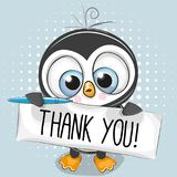 Cute cartoon Penguin Boy with plaque. With inscription thank you vector illustration