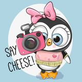 Cute cartoon Penguin with a camera. On a blue background Royalty Free Stock Photography