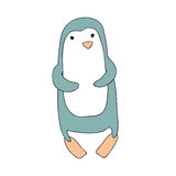 Cute cartoon penguin character, vector isolated illustration in simple style. Royalty Free Stock Photos