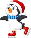 Cute cartoon penguin doing ice skating isolated on white background Stock Photography