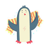 Cute cartoon penguin drying its body with a striped towel after bath colorful character, animal grooming vector royalty free illustration