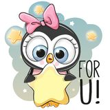Cute Cartoon Penguin girl with star. On the stars background Stock Photography