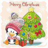 Cute Cartoon Penguin in a hat. Greeting card Cute Cartoon Penguin in a hat and scarf vector illustration