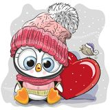 Cute Cartoon Penguin in a knitted cap. And a heart Royalty Free Stock Photography