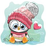 Cute Cartoon Penguin in a knitted cap. Sits on a snow stock illustration