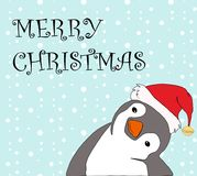 Cute cartoon of a penguin in Santa cap saying Merry Christmas on blue. Background. Hand drawing vector illustration  for Christmas cards, textiles, wallpaper Stock Photo