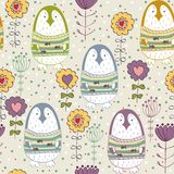 Cute cartoon penguin. In  spring flowers. Seamless pattern Stock Images