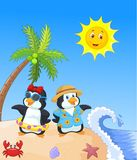 Cute cartoon penguin in summer holiday Stock Photos