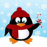 Cute cartoon penguin on winter background Stock Photos