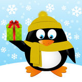 Cute cartoon penguin on winter background Stock Image