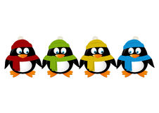 Cute cartoon penguins isolated Stock Photo