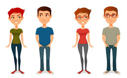 Cute cartoon people in casual outfits Royalty Free Stock Image