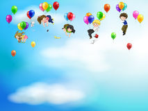 Cute cartoon people and children floating in the s Stock Photography