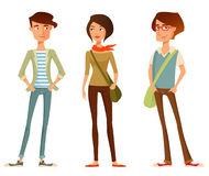 Cute cartoon people in hipster fashion Royalty Free Stock Photography