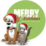 Cute cartoon pets santa hats greeting card Stock Image