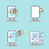 Cute cartoon phone selfie. Cute cartoon phone take selfie with tablet pc, great for  technology photograph concept Royalty Free Stock Photo
