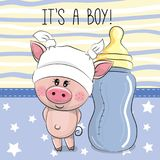 Cute Cartoon Pig with feeding bottle Royalty Free Stock Photography