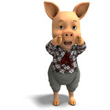 Cute cartoon pig with clothes Royalty Free Stock Images