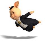 Cute cartoon pig with clothes Stock Photos