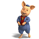 Cute cartoon pig with clothes Royalty Free Stock Photo