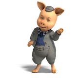 Cute cartoon pig with clothes Stock Photo