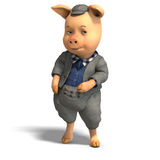 Cute cartoon pig with clothes Royalty Free Stock Image