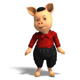 Cute cartoon pig with clothes Stock Images