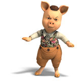 Cute cartoon pig with clothes Royalty Free Stock Photos