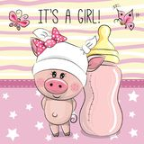 Cute Cartoon Pig with feeding bottle Royalty Free Stock Photo
