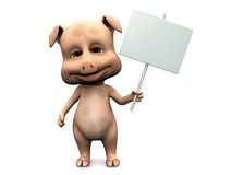 Cute cartoon pig holding blank sign. A cute pig holding a blank sign in its hand. White background Stock Photos