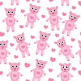 Cute cartoon pig puppy seamless texture. Children's background fabric. Vector illustration. Royalty Free Stock Images
