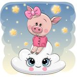 Cute Pig a on the Cloud. Cute Cartoon Pig is sitting a on the Cloud vector illustration