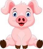 Cute cartoon pig sitting Stock Photography