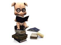 Cute cartoon pig sitting on a pile of books. Stock Image