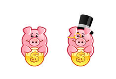 Cute cartoon piggy bank. Vector illustrations set of funny piggy banker with a golden coin Royalty Free Stock Photos