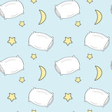 Cute cartoon pillow seamless pattern illustration for kids Royalty Free Stock Photo