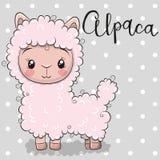 Cute Cartoon alpaca on a gray background