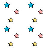 Cute cartoon pink blue and yellow stars seamless pattern background illustration Stock Images